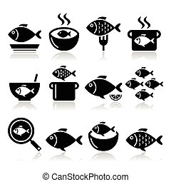 Fish meals icons - soup, chowder - Vector food icons set -...