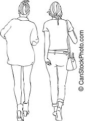 Stylish Female Friends Walking - Isolated vector of the back...