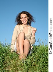 young woman grass