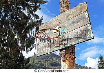 viejo, baloncesto, aro,