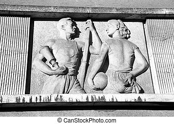 Old communist relief - RUZOMBEROK, SLOVAKIA - MARCH 2: Old...