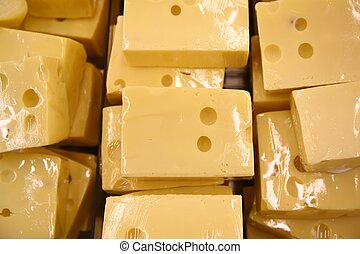 pedaços, queijo