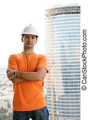 worker in the helmet