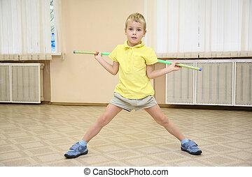 boy in sporthall