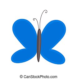Blue Butterfly - Abstract Vintage Comic Flying Butterfly...