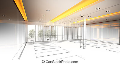 sketch design of interior yoga room - abstract sketch design...