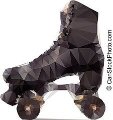 Polygonal illustration of black rollerskate isolated on white background