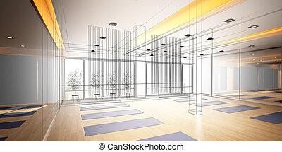 sketch design of interior yoga room - abstract sketch design...