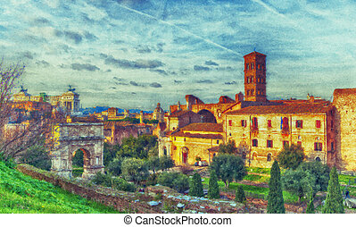 Roman Forum Digital Painting - A digital painting of the...