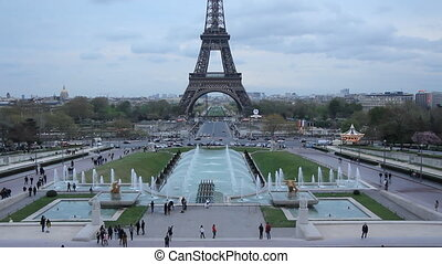 Eiffel tower from the Trocadero - View of Eiffel tower and...