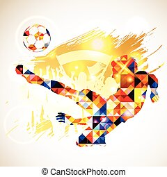 Soccer Concept - Silhouette Soccer Player and Ball in Mosaic...