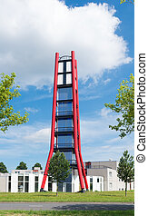 fire department tower - striking red tower of the Almere...