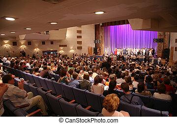 gente, concierto, vestíbulo