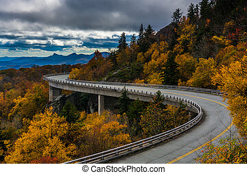 Autumn view of Linn Cove Viaduct, on the Blue Ridge Parkway,...
