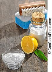 limpieza, herramientas, con, limón, y, sodio,...