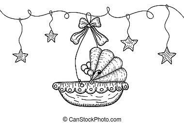 Hand Drawn Illustration with Hanging Cradle and Stars - Hand...