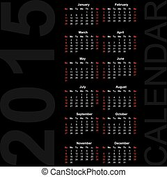 Simple Calendar year 2015,  vector