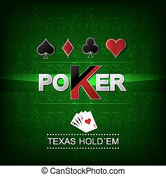 Poker vector background with flower pattern and card symbol,...