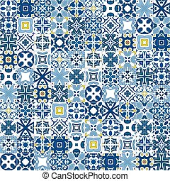 Portuguese tiles - Seamless pattern illustration in...