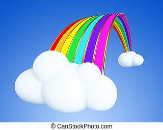 regnbåge, tecknad film, skyn