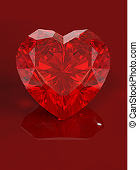 Jewel heart with reflection isolated on red background....