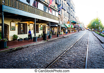 East River Street in Savannah, Georgia
