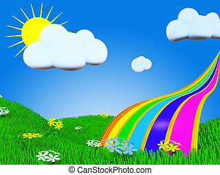 Summer rainbow - Cartoon rainbow picture witn grass, sun and...