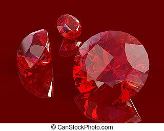 Ruby set isolated on white background