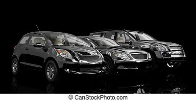 Cars - 3D cars isolated on black background. Exellent...