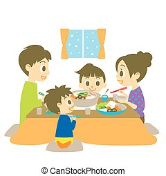 Japanese hot pot dish, family, vector file