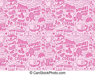 seamless doodle coffee pattern background
