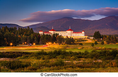 Late evening view of the Mount Washington Hotel in Bretton...
