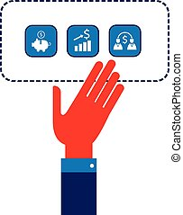 Businessman hand with business icon