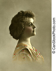 Vintage portrait - Vintage portrait of a young women. The...