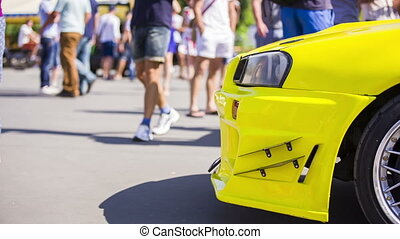 Yellow Car At Exhibition. Side shot