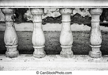 Stone bannister - Image of a row of white bannister pillars...