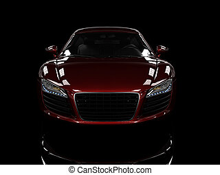 Red modern car isolated on black background. isolated on...