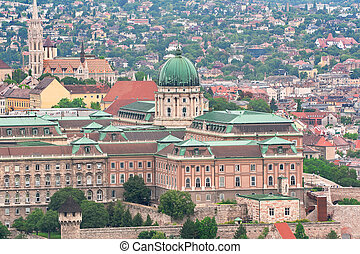Budapest, Hungary: Royal Palace of Buda and Matthias church...