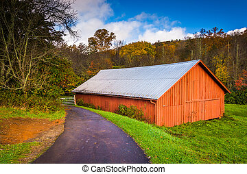 Red barn along the Blue Ridge Parkway near Blowing Rock,...