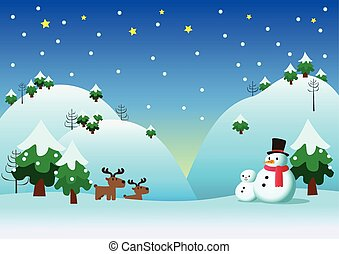Snowman with snow theme background - Snowman and his...