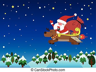 Santa Claus with jet reindeer christmas - Santa Claus on...