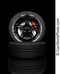 Racing wheels - Racing carbon wheel on black background