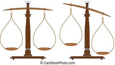 Weighing scale - Cartoon weighing scale in two positions....