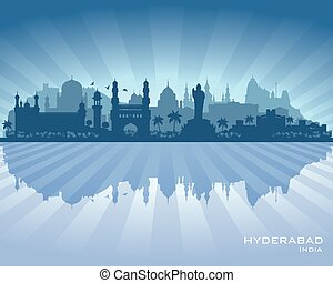 Hyderabad India city skyline vector silhouette illustration
