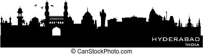 Hyderabad India city skyline vector silhouette - Hyderabad...