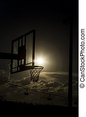 silhouette of a basketball hoop - silhouette of a basketball...