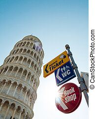 The Leaning Tower of Pisa in Italy with guideposts