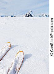 Ski tips, snow field and mountain landscape in background...