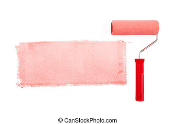 red paint roller isolated on a white background