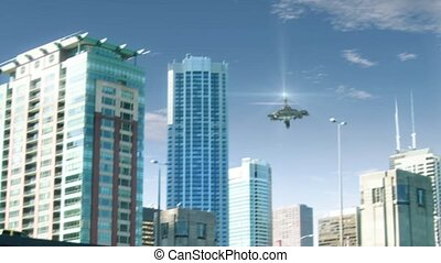UFO flying in Chicago - Animation with fake alien spaceship...